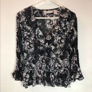 Floral Poly Blouse XL